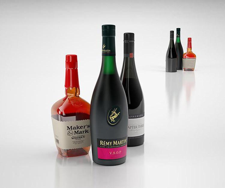 红酒威士忌朗姆酒洋酒C4D模型创意场景