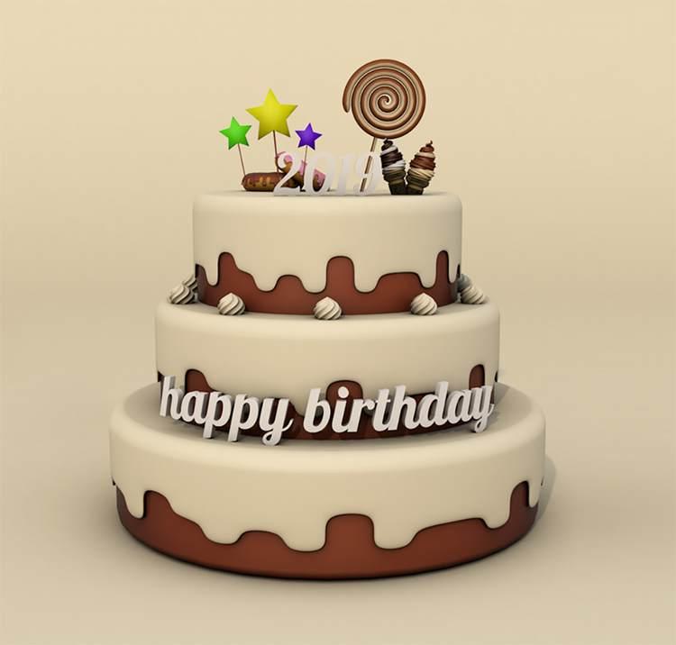 卡通巧克力多层生日蛋糕c4d模型