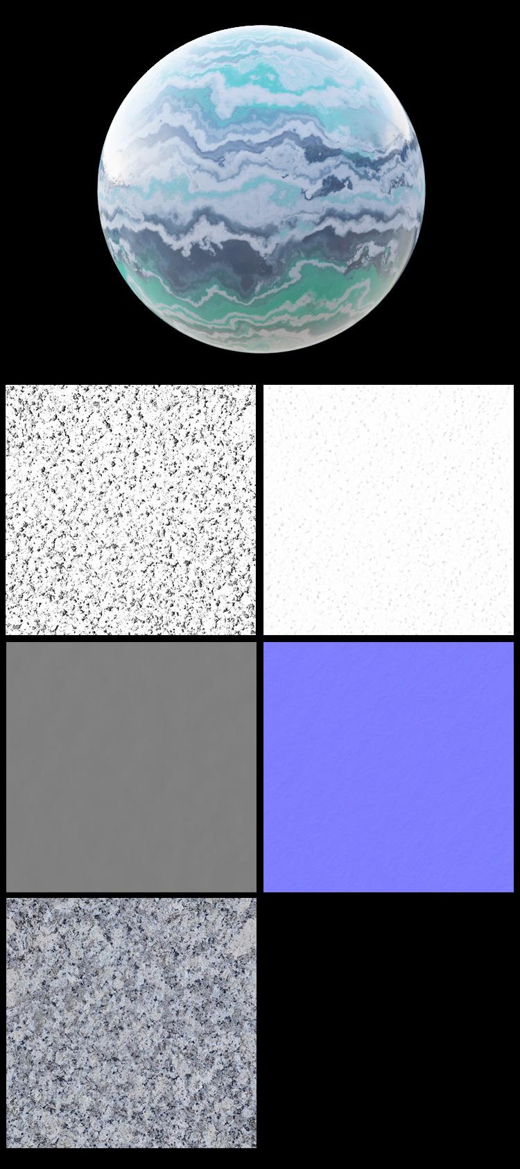 C4D瓷砖地板花纹花岗岩材质通道模型贴图法线置换凹凸素材