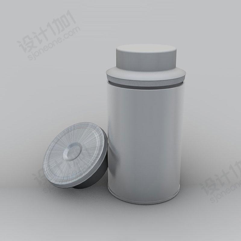 茶叶铁皮罐包装罐铁桶铁盒C4D模型