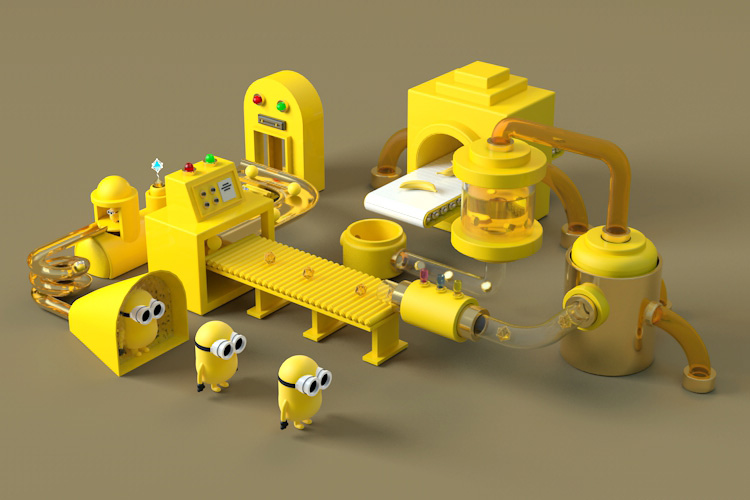 卡通小黄人生产线场景C4D模型