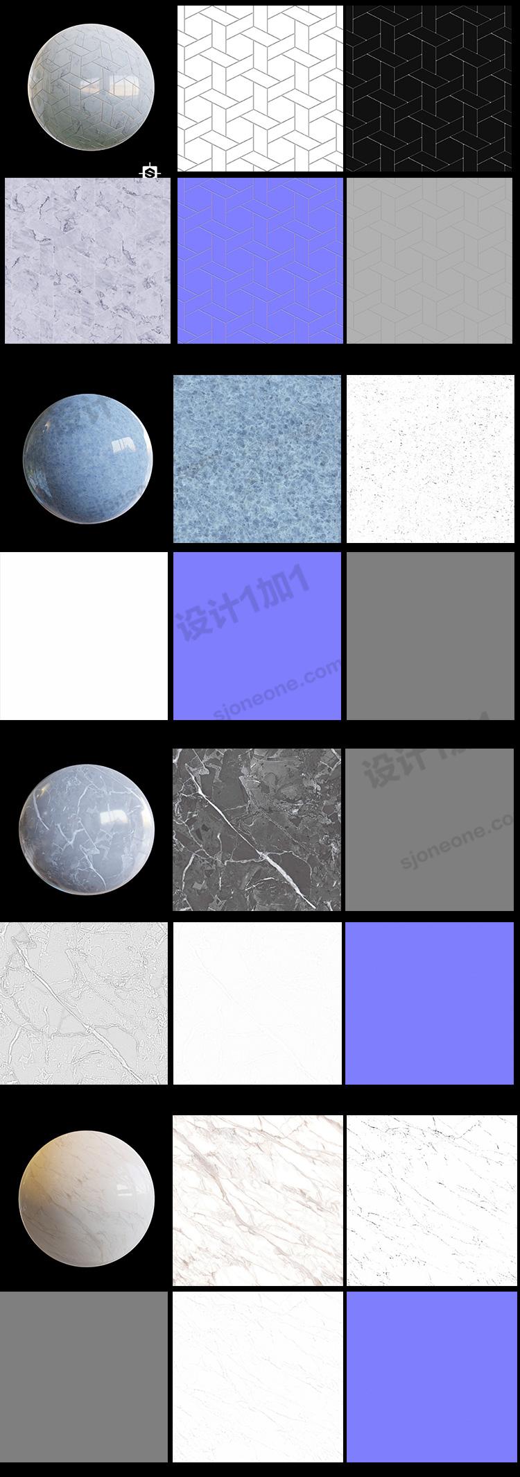 C4D大理石纹理背景无缝贴图3D模型地面材质法线置换凹凸素材