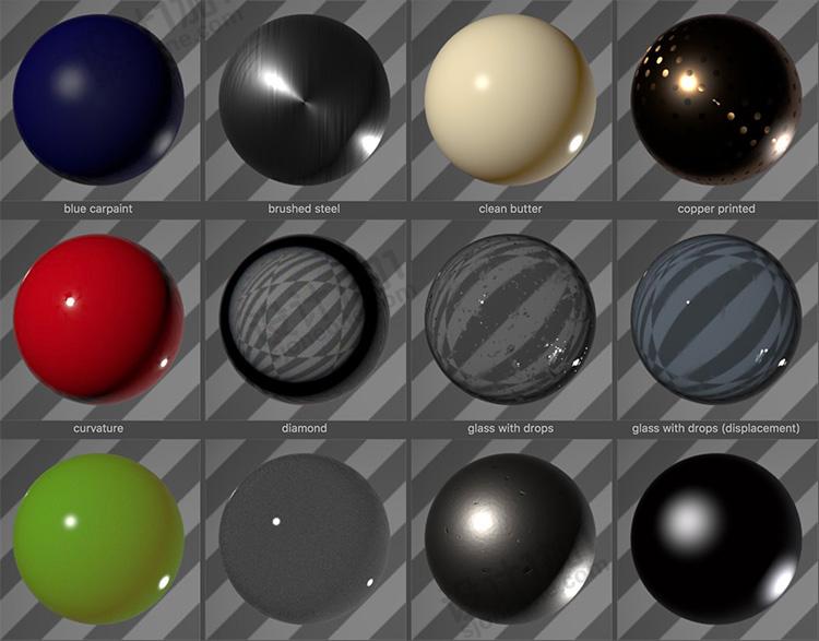 26款C4D Redshift材质预设合集创意场景3D模型