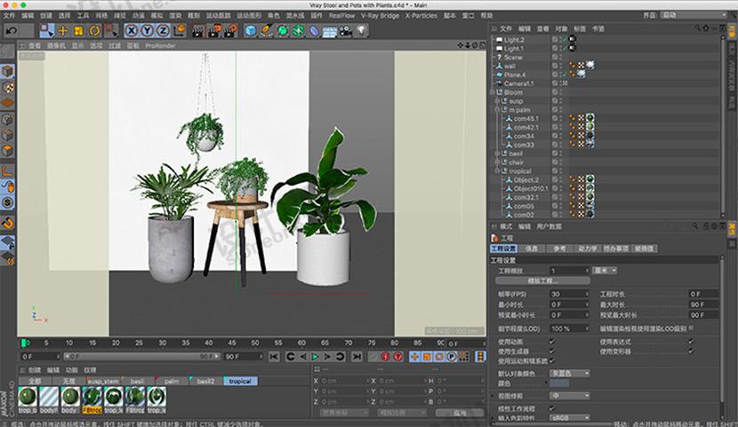 景观植物盆景C4D模型室内设计创意场景