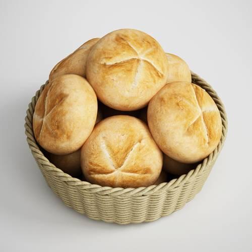 篮子中的食物面包西式面包C4D模型