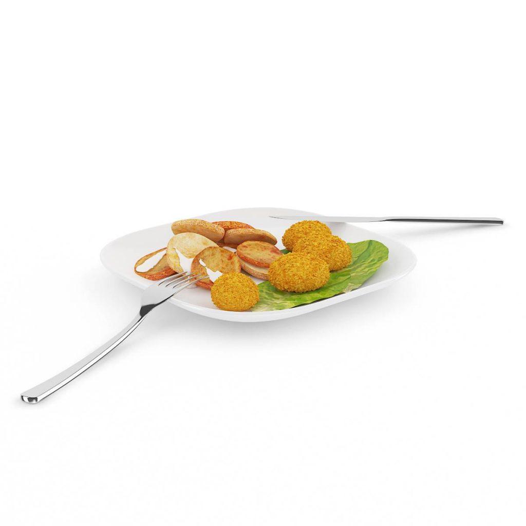 餐盘中的饼干食物西餐早餐刀叉C4D模型