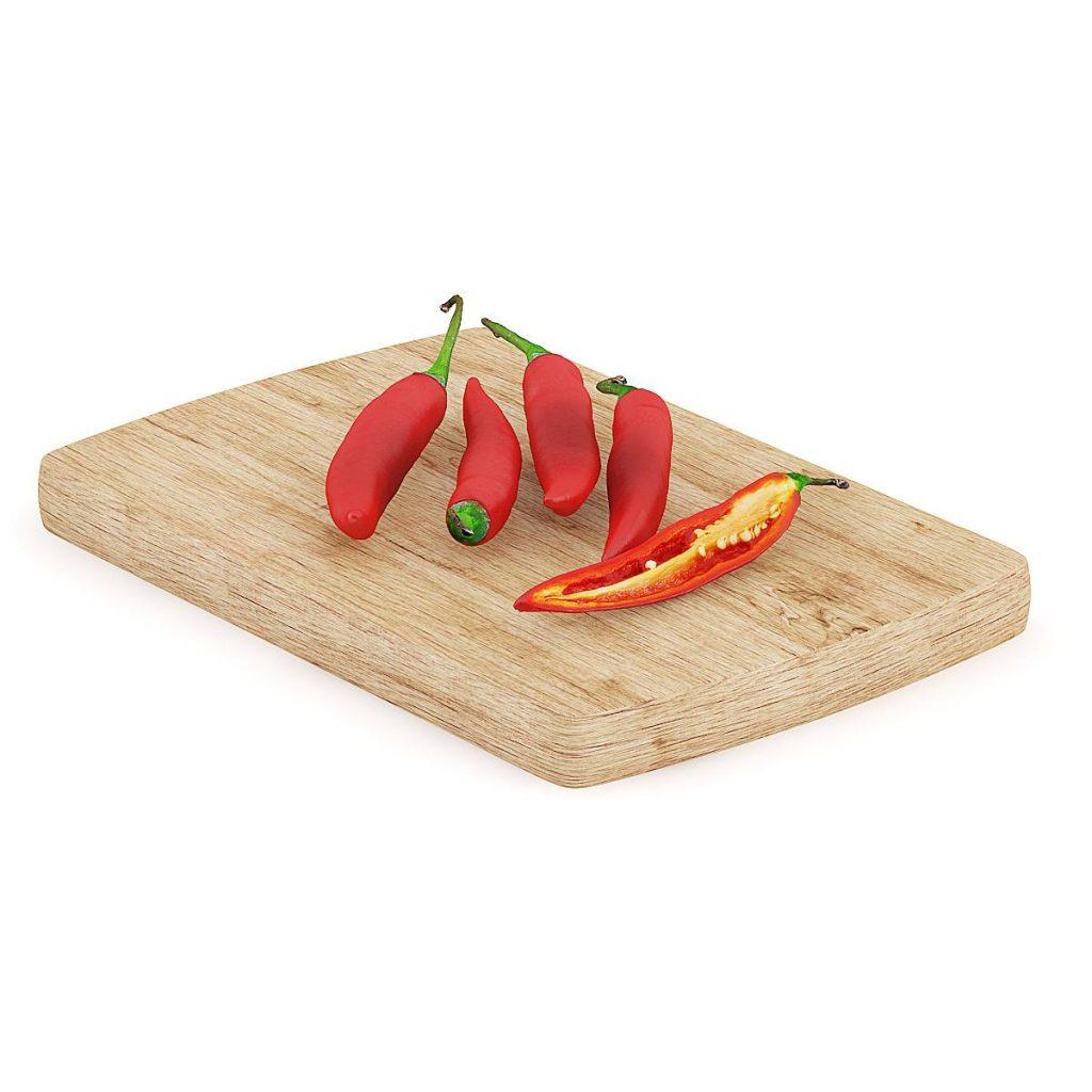 砧板上的食物辣椒蔬菜C4D模型
