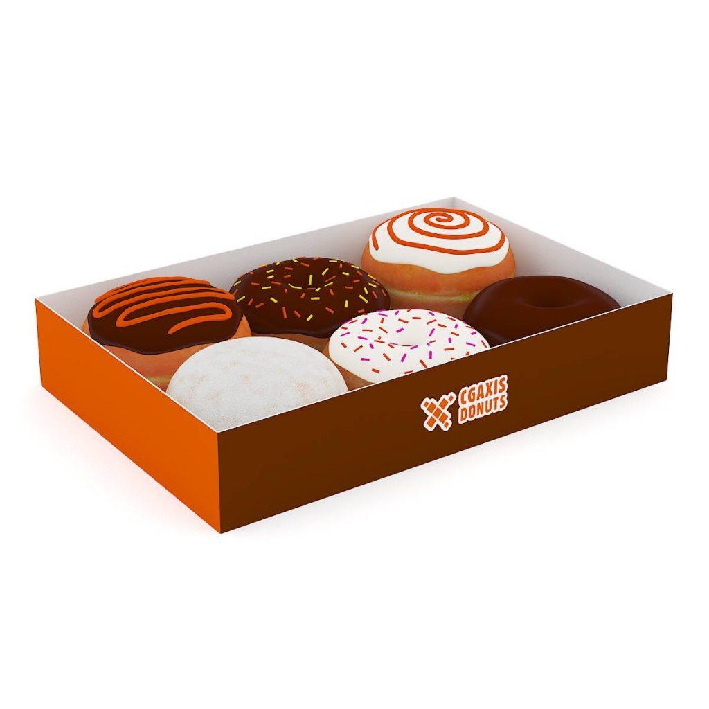 包装盒中的甜甜圈食物蛋糕饼干C4D模型