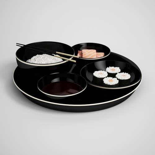 筷子寿司三文鱼日料C4D模型