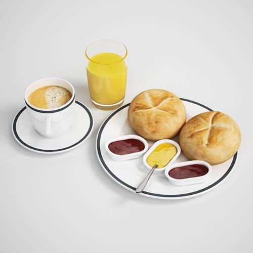 果汁咖啡面包C4D模型