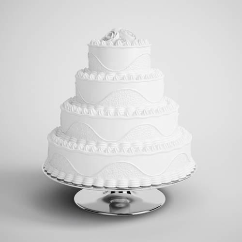 生日快乐叠层白色奶油蛋糕生日蛋糕食物C4D模型