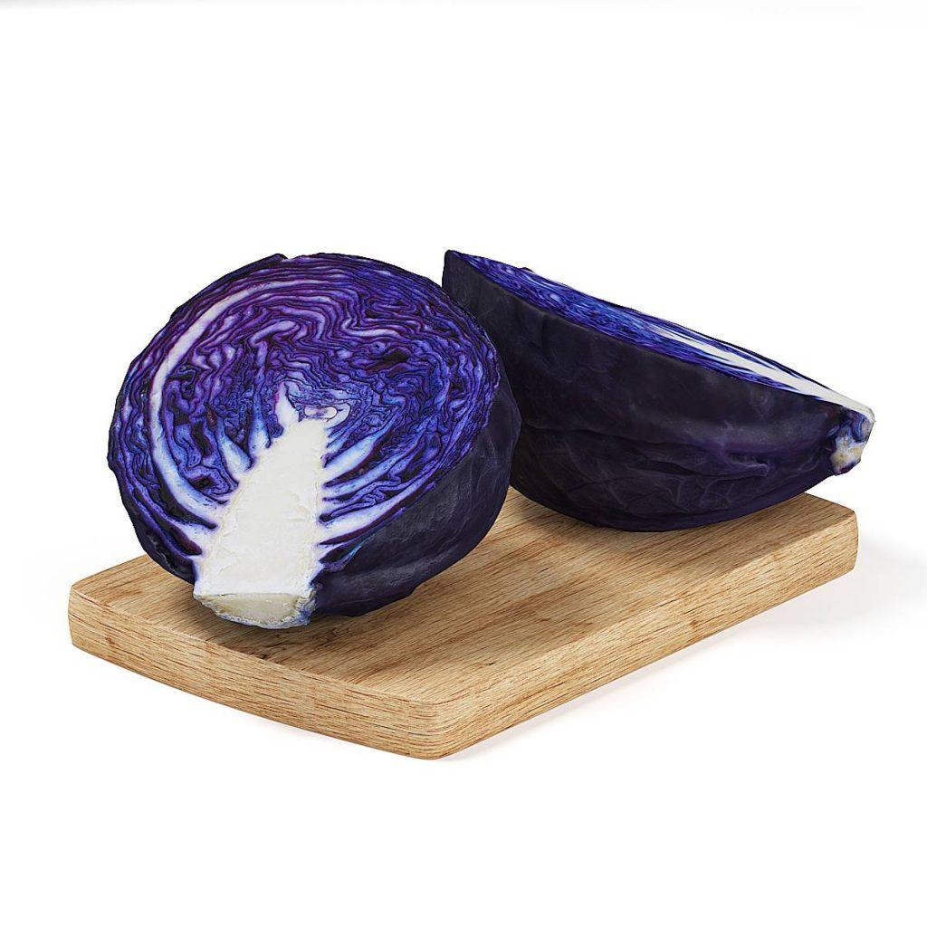 砧板上的紫包菜蔬菜食物C4D模型