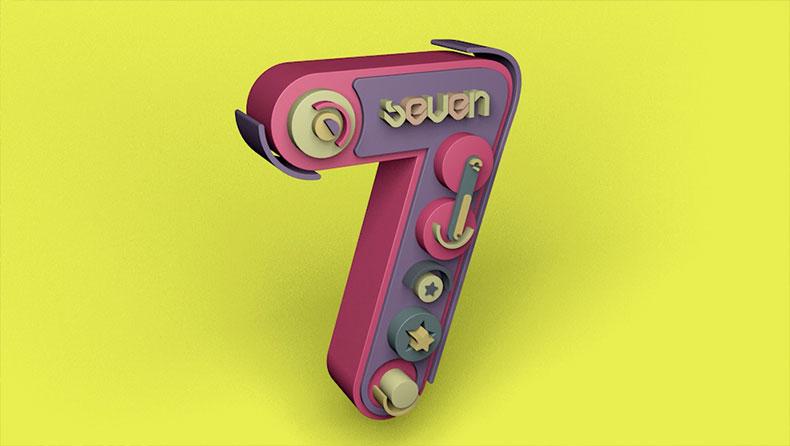 数字7艺术数字文字设计C4D模型