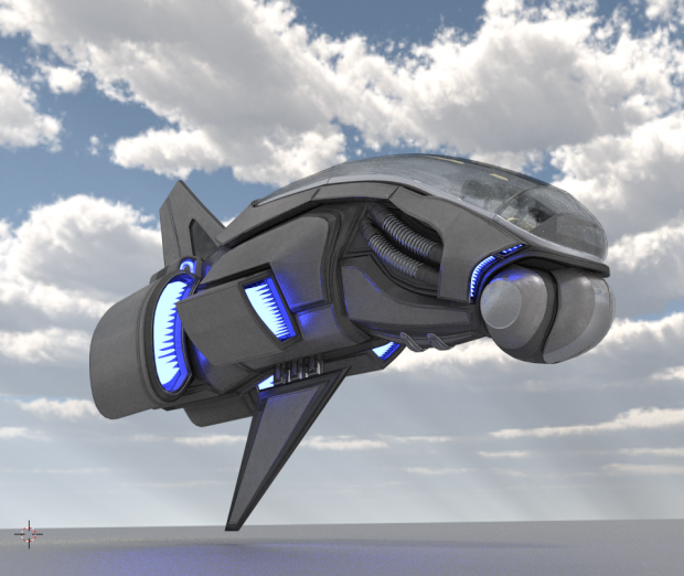 3D模型素材:未来科技感十足的蓝色光芒航天飞船模型