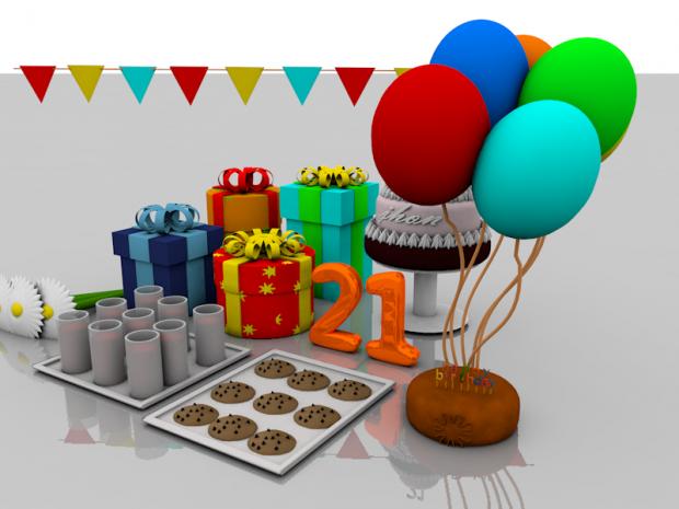 圣诞礼物气球点心场景3D模型