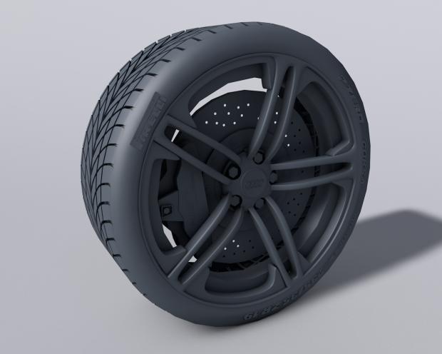 奥迪车轮汽车轮胎3D模型