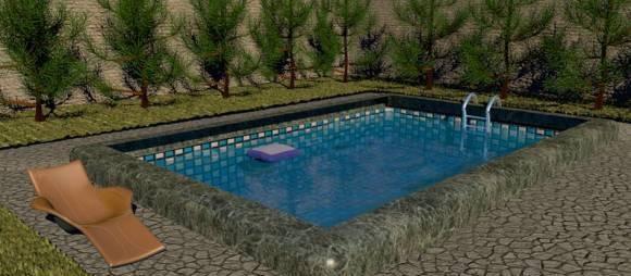 露天游泳池家庭游泳池3D模型