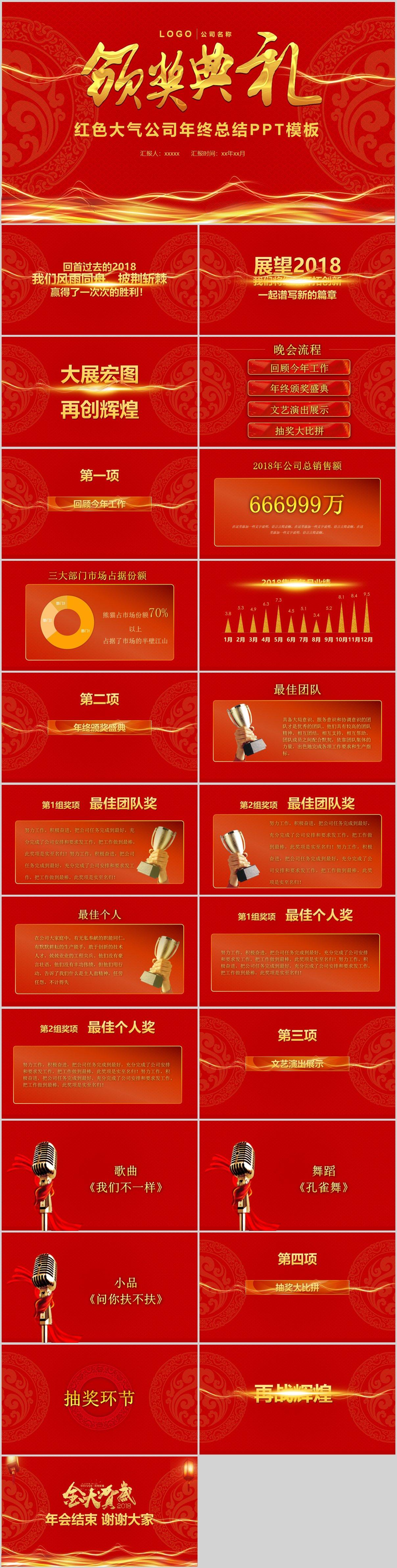 红色大气颁奖年终典礼PPT模板