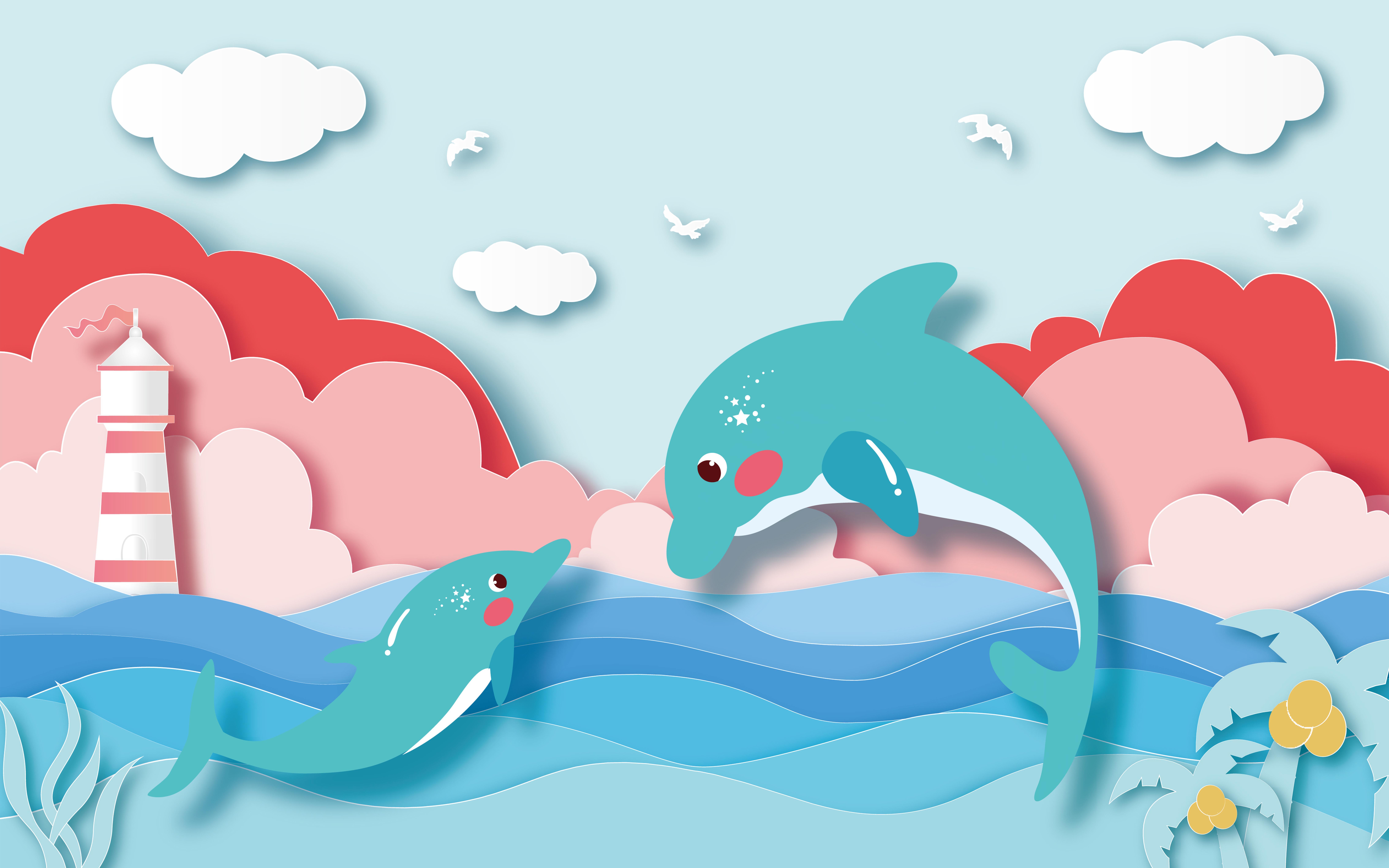 卡通可爱海边鲸鱼儿童房背景墙