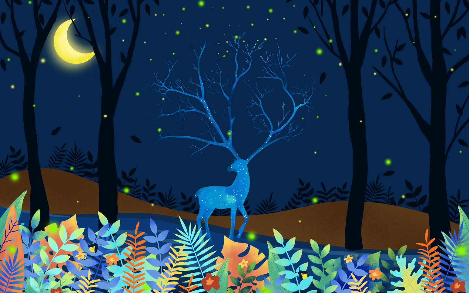 唯美森林星空鹿儿童房电视背景墙卧室客厅