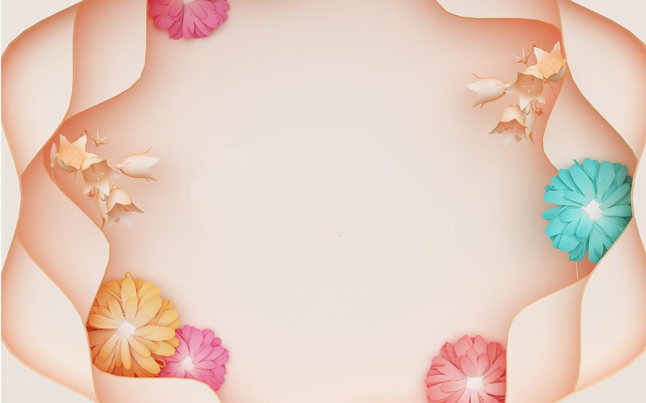 剪纸风立体绚丽花朵背景墙